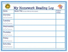 Free Homework Reading Log. theorganizedclassroomblog.com