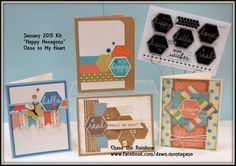Exclusive Hostess Rewards stamp set 'Happy Hexagons' from Close to My Heart. This Virtual Kit includes the stamp set and 4 projects that are precut and individually bagged with pictures and directions for you to make on your own at home. www.facebook.com/dawn.montagao