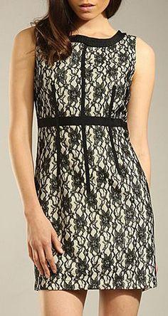 Black & Gold Lace Overlay Sleeveless Dress