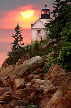 Lighthouse, Bar Harbor, Maine - Footnote: This Is The Bass Harbor Light House - (dm)