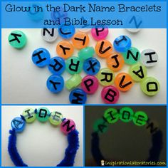 Glow in the Dark Name Bracelet Bible Lesson - great way to teach kids to let their light shine!
