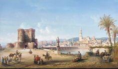 Carlo Bossoli (1815-1884)-'Roman bridge in Cordoba'-oil on canvas