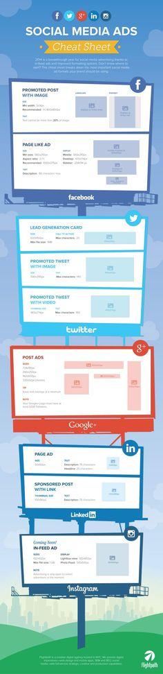 The Ultimate #SocialMedia Ad Image Sizes Cheat Sheet 2014 | #SocialMediaAds #SocialMediaInfographics