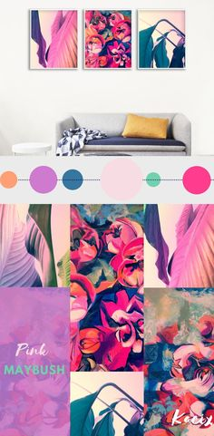 Set of 3 gallery wall prints with floral motive. Modern large leaves in tropical colors and acrylic painting full of pink hawthorn flowers - beautiful and inspiring combination for your bedroom or living room. Colors: - dominant: magenta, dark blue, teal green - accent: pastel purple, pastel orange, pastel pink. Flower Painting Gallery Wall
