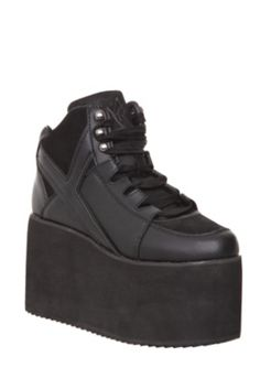 Loooove platforms...that may be the highest I've seen...still think it'd be awesome if they did transparent platforms with cool little figures inside. // YRU Qozmo Hi-Black Platform Sneakers