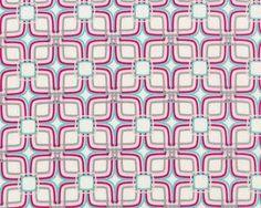 Feiner Popeline-Patchworkstoff Floressence mit Viereck-Blüten-Muster, fuchsia-wollweiß