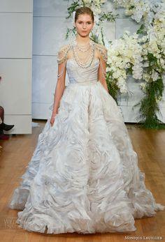 monique lhuillier spring 2018 bridal strapless sweetheart neckline wrap over ruched bodice ruffled skirt princess ball wedding dress long train (isabella) mv