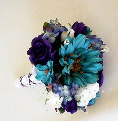 Teal Wedding Bouquet Purple Boutonniere Set Silk flowers. via Etsy. okay this was just too cute not to pin