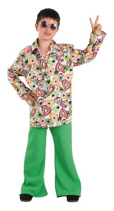 DisfracesMimo, disfraz de hippie años 70 niño varias tallas. Con este traje volverás a aquellos maravillosos años en los que primaba el lema paz y amor.Este disfraz es ideal para tus fiestas temáticas de disfraces de hippies y años 60,70 y 80 para infantiles. fabricacion nacional