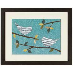 Aqua Songbird Framed Wall Art