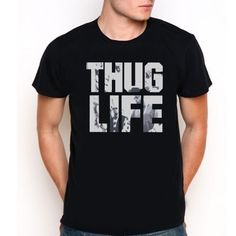 Thug Life Mans Hip Hop Music Custom Black Tee T-Shirt All Size XS-XXL