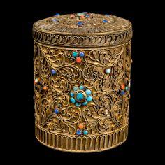 Nepal 20. Jh. Dose - A Nepalese Gilt Silver 'Jarao' Box  -  Boîte Népalaise