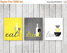 Styling Kitchen Wall Art Decor; Modern Kitchen Eat Drink Love Art Prints. Beautiful fresh modern colors: Shades of Grey, Yellow, Black & White. ** And the best part is that Colors are fully customizable too. Comes in Your choice of several size options. Set of (3) Dimensions: (You Choose Sizes - Each print) 4 x 6, 5 x 7 OR 8 x 10 .......COMES UNFRAMED & ARE NOT CANVASES....... (Prints Will Require Framing) : SEE THEM DISPLAYED HORIZONTALLY (Landscape) HERE: https://www.etsy...