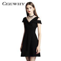 CEEWHY Burgundy V neck Little Black Dress Formal Party Mini Dress Vestidos  de Coctel Short Cocktail 1c5a36e89