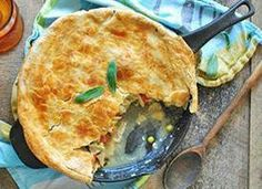 Cast-Iron Skillet Chicken Pot Pie. Made with kale, frozen veggies and rotisserie chicken in an 8-inch cast iron skillet.