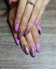 Pink purple gel nails with purple and rose gold sparkle ombre accent nails. Pastel nails. Almond nails. Matte nails. Nails by Ailesh