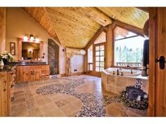 View our picture gallery for log home bathrooms and bedrooms design inspiration! Pioneer Log Homes can custom build whatever you dream of. Log Home Bathrooms, Dream Bathrooms, Open Bathroom, Half Bathrooms, Bathroom Ideas, Future House, My House, House Floor, Heart Pine Flooring