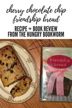 Make this easy, decadent Cherry Chocolate Chip Bread with your Amish Friendship Bread Starter.   Inspired by the novel Friendship Bread by Darien Gee. Brought to you by The Hungry Bookworm blog. Friendship Bread Recipe, Friendship Bread Starter, Amish Friendship Bread, Bread Recipe Book, Bread Recipes, Chocolate Chip Bread, Chocolate Cherry, Book Club Snacks, Food Reviews