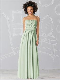 Pale green bridesmaid dress / Strapless full length dress in lux chiffon has draped bodice and matching matte satin belt at natural waist / After Six Bridesmaid Dress 6621