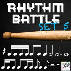 Rhythm Battle Set 5: projectable rhythm flash cards. Organized Chaos. Great way to review rhythm notation reading! Includes rhythms up to and including sixteenth, eighth, quarter, half, dotted half, and whole notes, quarter, half, and whole rests, and syncopa patterns. Large notes for easy reading. No more squinting at flash cards! One 4-beat rhythm pattern on each slide. Game directions included. Great for Music In Our Schools Month (MIOSM), end of the school year review, or any time!