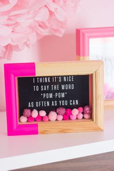 This simple DIY art project just screams fun! Everyone needs a little pom-pom shadow box in their creative space, don't you think? Diy Craft Projects, Decor Crafts, Diy And Crafts, Projects To Try, Craft Ideas, Home Decor, Diy Francais, Cadre Diy, Military Shadow Box