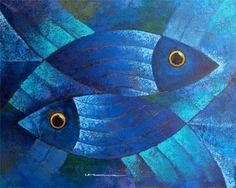 Vitral. Blue fish art