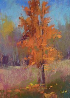 Orange Tree on a Hill Plein Air pastel 5x7 by Karen Margulis