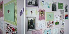 Postkartengalerie mit Masking Tape-Rahmen und Foto-Ecken.