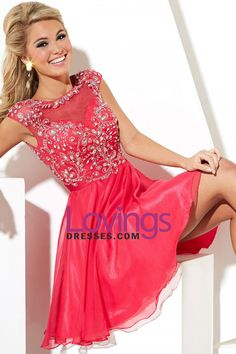 2015 Splendid Chiffon&Tulle Homecoming Dress Bateau A Line Short/Mini With Beads And Embroidery US$ 169.99 LDPDEXJK7H - lovingsdresses.com