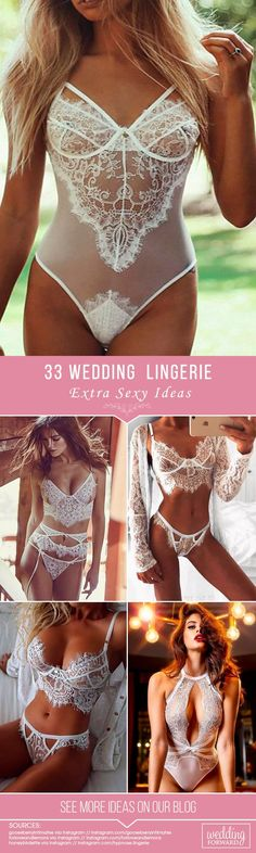 33 Extra Sexy Wedding Lingerie ❤️   Make your wedding day and wedding-night perfect with a stunning wedding lingerie from our list below. Show your sexiness to your groom! See more: http://www.weddingforward.com/wedding-lingerie/ #weddings #lingerie #weddinglingerie #whitelingerie