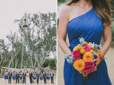 bright bouquet- orange dahlias, yellow billyballs
