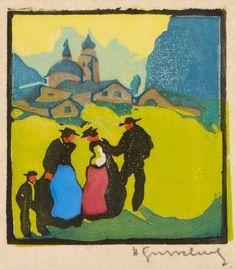 Herbert Gurschner Woodcut Painting, Artists, Painting Art, Paintings, Painted Canvas, Drawings