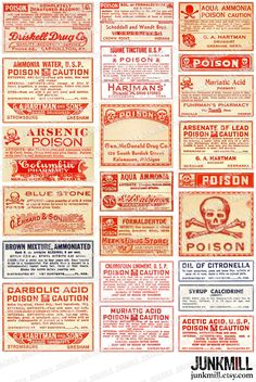 POISON - Collage Sheet - Antique Apothecary Labels, Vintage Poison Labels, Pharmacy, Drug Store, Laboratory, Medical, Danger, Crossbones. $3.50, via Etsy.