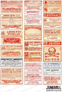 POISON - Collage Sheet - Antique Apothecary Labels, Vintage Poison Labels, Pharmacy, Drug Store, Laboratory, Medical, Danger, Crossbones. $3.50, via Etsy.