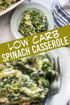 Spinach Casserole - so cheesy, loaded with bacon, and it's low carb and keto! - Spinach Casserole – so cheesy, loaded with bacon, and it's low carb and keto! Easy enough for a - Baked Spinach Recipe, Frozen Spinach Recipes, Cooked Spinach Recipes, Cooking With Spinach, Spinach Bake, Appetizer Recipes, Keto Recipes, Cooking Recipes, Healthy Recipes