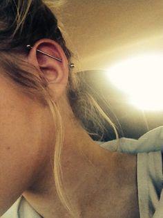 Kylie Jenner Inspired Ear Piercings Industrial Piercing Jewelry 14G at MyBodiArt