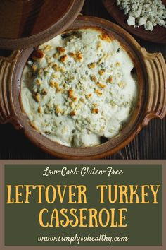 This recipe for Low-Carb Leftover Turkey boasts loads of bacon broccoli and blue cheese! Its a delicious way to give leftover turkey a fresh new facelift. This turkey casserole can work for low-carb Low Carb Diet Plan, Low Carb Lunch, Low Carb Dinner Recipes, Diet Plan Menu, Keto Dinner, Leftover Turkey Casserole, Leftover Turkey Recipes, Leftovers Recipes, Turkey Leftovers