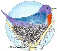 Print of Watercolor & Pen and Ink - Small Wall Art - Cozy Home Decor - Great Gift Idea - Bird on Nest - Blue and Purple - Circle Design by CreateThriveGrow on Etsy