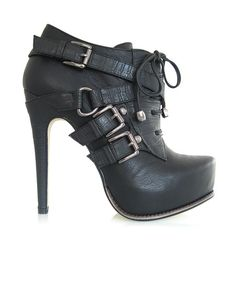 The perfect pair for confident and fashion-savvy feet, these booties exude fierce fabulousness. Bold straps and buckles decorate this sky-high silhouette with laces along the front.