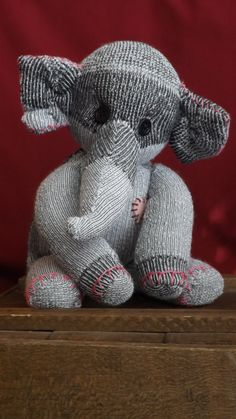 Dunham Handstitched sock elephant. Stands approx 9 by ChikiMonkeys, $25.00