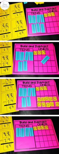 Students Build numbers to subtract with regrouping in this teacher friendly activity!
