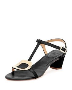 Chips+Leather+T-Strap+Sandal,+Nero+by+Roger+Vivier+at+Neiman+Marcus.