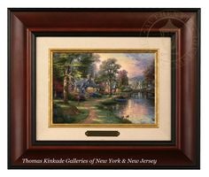 Thomas Kinkade Hometown Lake Brushwork (Burl Frame)