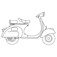 Vespa 1957 Black White Line Art Coloring Sheet Colouring Page 555px.png
