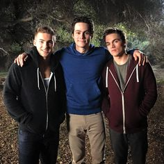 Cody Christian, Dylan O'Brien, and Dylan Sprayberry on the set of Teen Wolf!