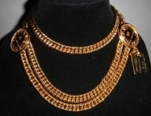 Authentic Chanel Rare Vintage Medallion Chain Gold Plate Belt Necklace