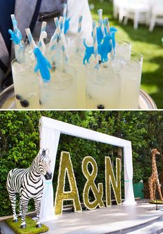 {Adorable Animal} Twins First Birthday Party...blue/white polkat dots...cutest centerpieces ever and the dessert table is just adorable....click for more pictures.