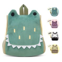BELK Little Boys' Cool Animal Pack Sidekick Backpack Small Kid Toddler Childrens School Lunch Bag with Tote Hand, Water Cup / Bottle Holder - Green Crocodile -- Quickly view this special product, click the image : Christmas Luggage and Travel Gear Animal Backpacks, Kids Backpacks, Little Boy And Girl, Little Boys, Sewing For Kids, Baby Sewing, Toddler School, Toddler Toys, Animal Bag
