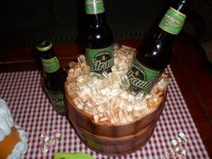 Ice Bucket cake, everything is edible except the beer bottles!