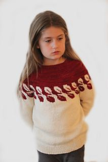 Leafs child sweater is a circular yoke sweater worked top down and in one piece. It has a very easy stranded pattern of leafs on the top-half of the sweater. It's so easy, even new beginners to stranded work can make this. Made in sport-weight, this is a light weight sweater, thick enough to keep your child warm, all through winter. It has a little bit of positive ease so the fit is away from the skin, helping those children most sensitive for itching and also making it more comfortable to…